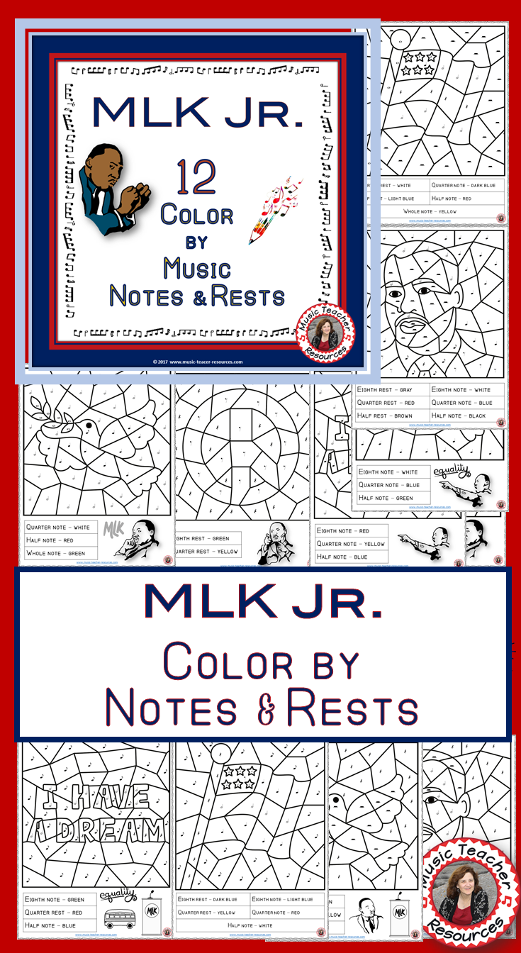 Black History Month Music: 12 Martin Luther King Jr. Music Coloring ...
