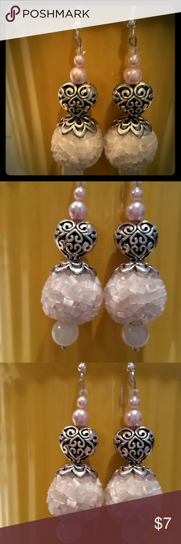 Handcrafted snowball, Swarovski Crystal Pearls Handcrafted Strikingly Beautiful pair of Earart! Always made of high quality beads and materials! Custom 1 of a kind designs! 4 pink Swarovski Crystal Pearls and tiny clear S.CRYSTALS top of pearls. Glass n nickel free metal AND REAL SILVER EAR HOOKS! ! !  #EARART  #1OFAKIND  #HANDCRAFTEDISTHEBOMB!! !  #ONLYUWILLHAVE! ! ! ! ! ! ! ! ! ! ! ! ! ! ! ! ! my own  Jewelry Earrings