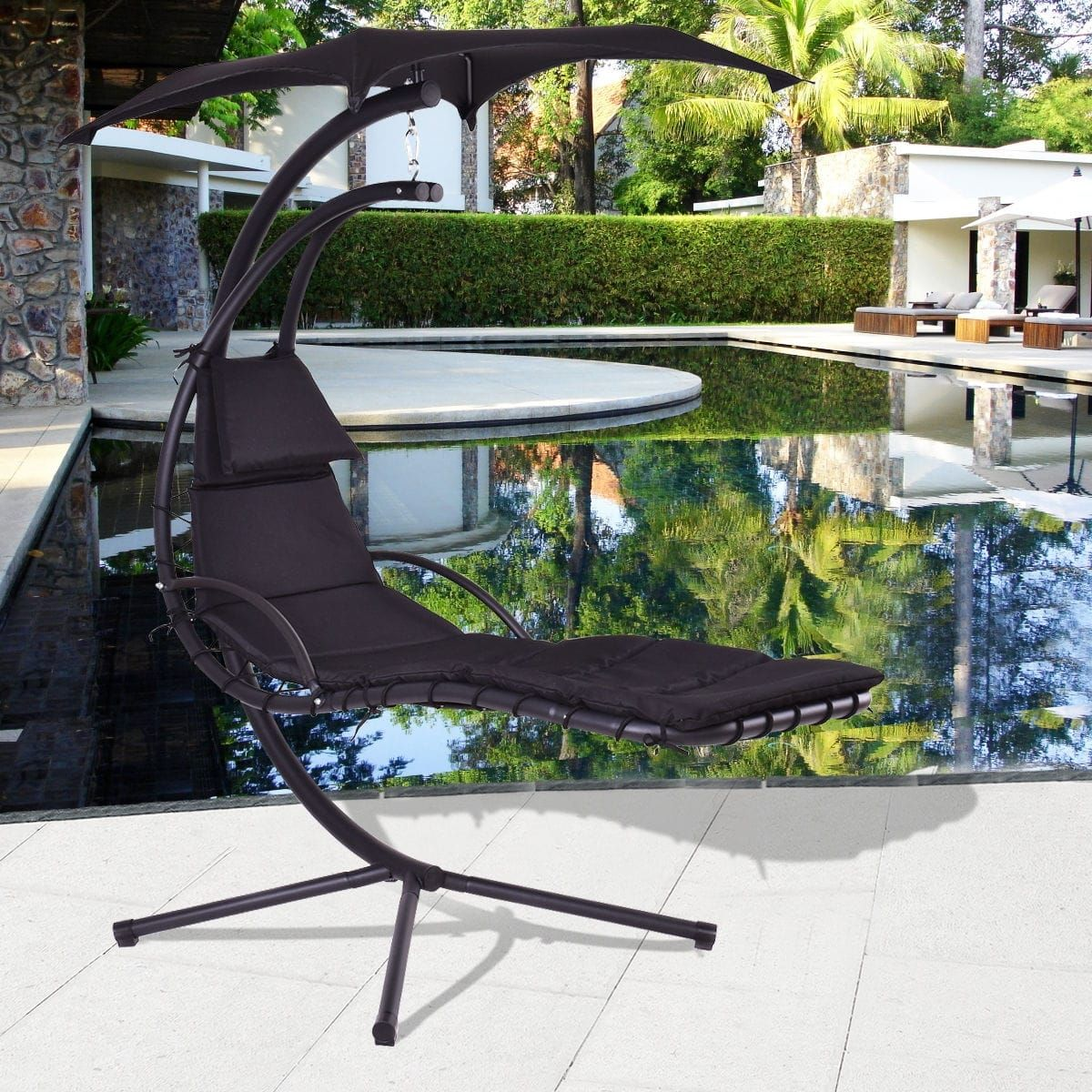 Costway Black Hanging Chaise Lounge Chair Arc Stand Air Porch Swing Hammock Chair Canopy Patio Furniture Hammock Swing Chair Hammock Chair Hammock Swing