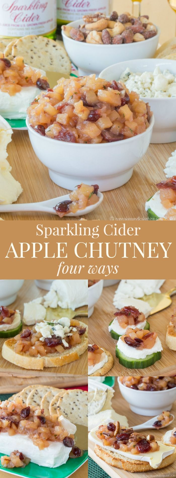 Sparkling Cider Apple Chutney - an easy recipe with four serving ideas for appetizers, or to top chicken, pork, or salads made with @martinellisco #ad