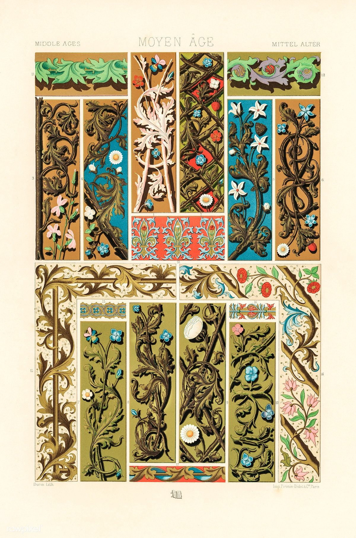 Middle Ages Pattern From L Ornement Polychrome 1888 By Albert Racinet 1825 1893 Digitally Enh Decorative Prints Decorative Art Prints Persian Art Painting
