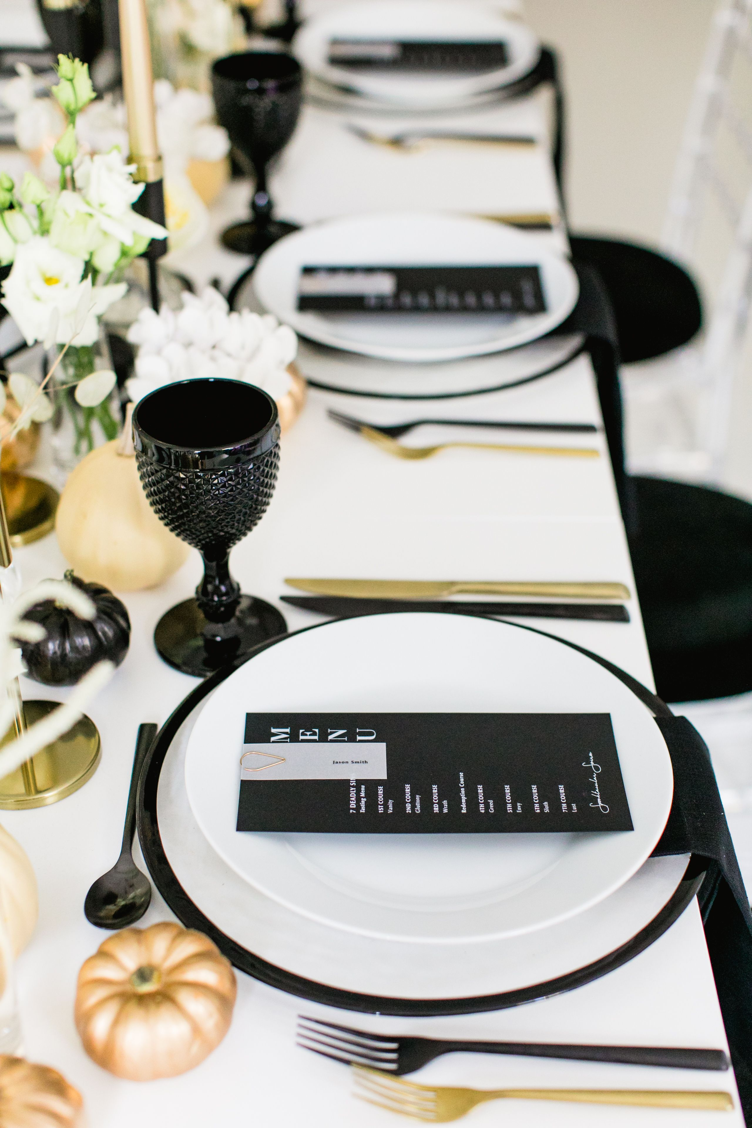 Modern Black White And Gold Table Setting For A Chic All Hallows