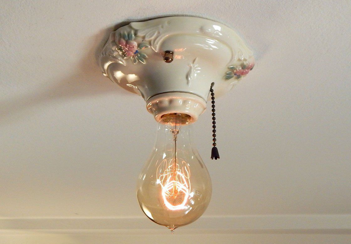 Ceiling Mount Light With Pull Chain Captivating Floral Flush Mount Porcelain Ceiling Light Equipped With Pull Chain 2018