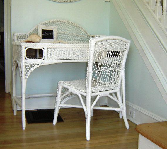 Vintage White Wicker Desk Chair Or Vanity