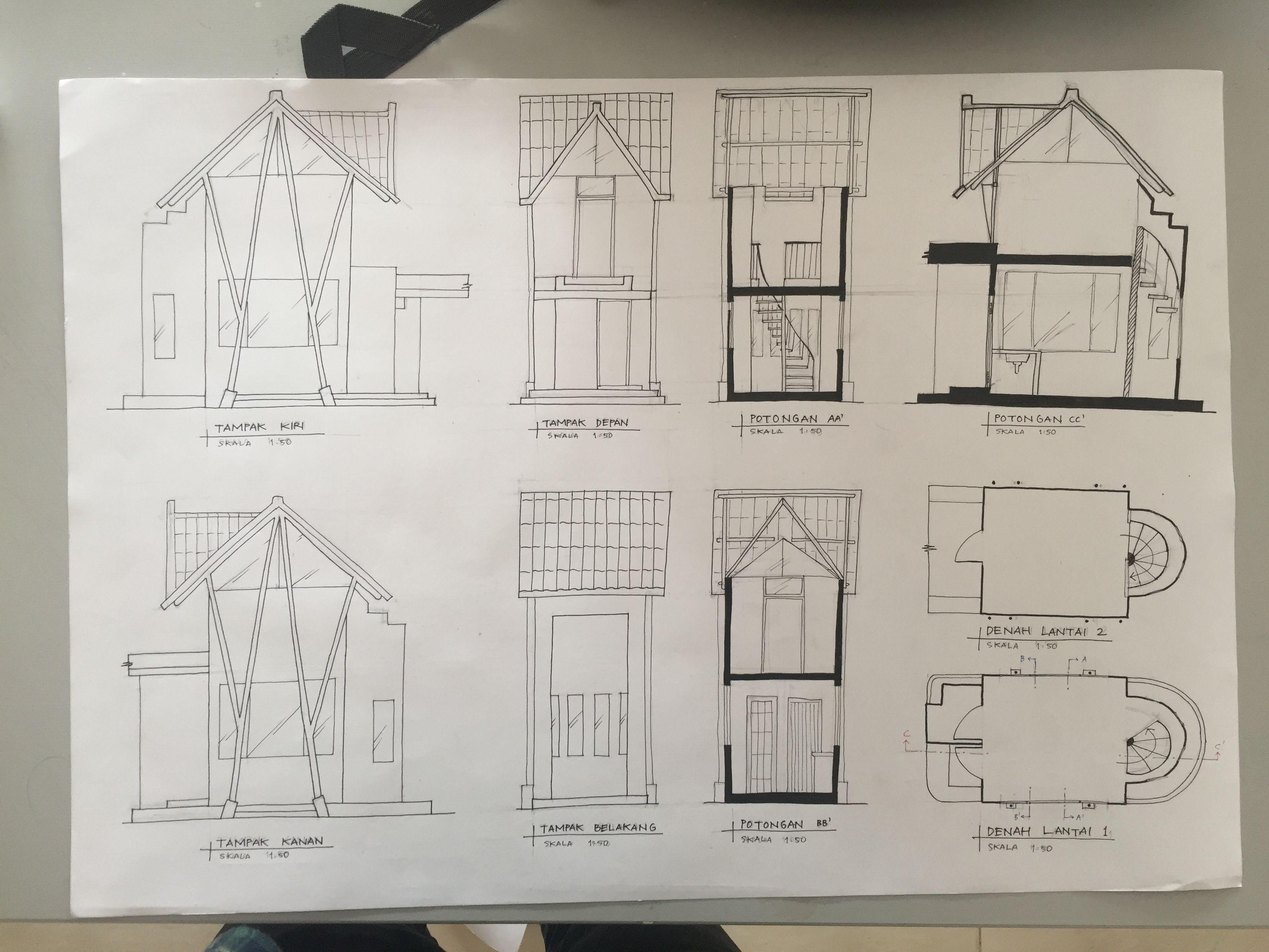 Ortografis Pos Satpam Section Elevation Plan Presentasi Arsitektur Arsitektur Presentasi