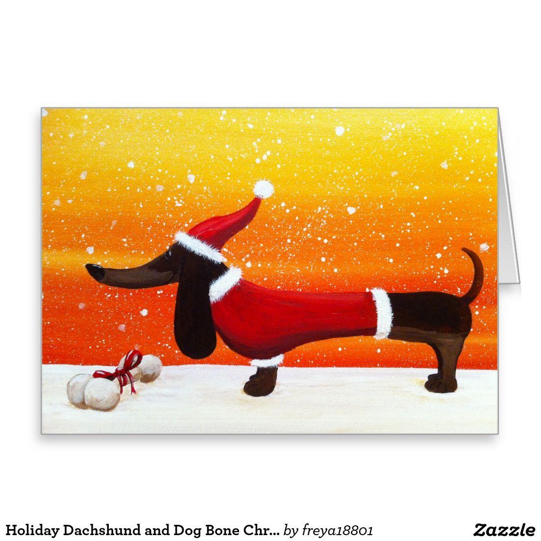 Holiday dachshund and dog bone christmas gift card dog bones dog holiday dachshund and dog bone christmas gift greeting card kristyandbryce Image collections