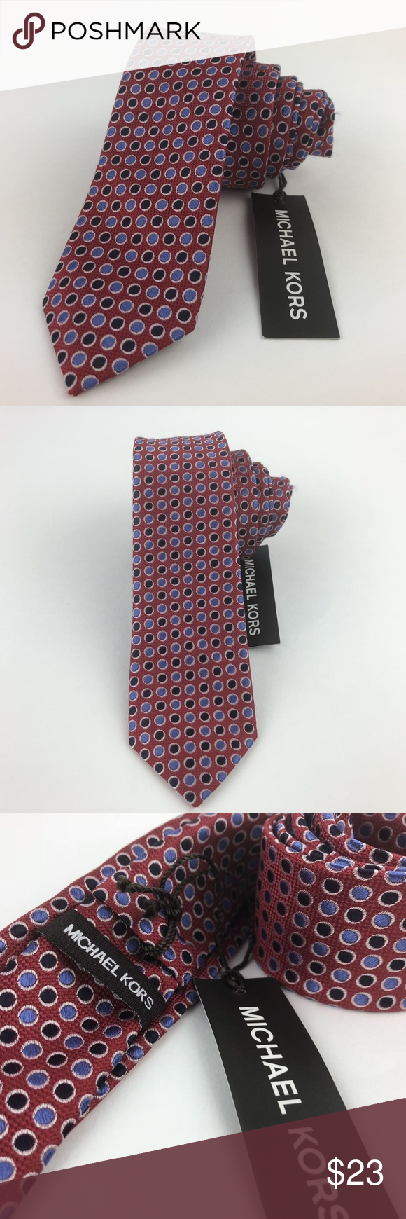 Michael Kors Silk Red/Blue Tie Dot Pattern NWT Red and