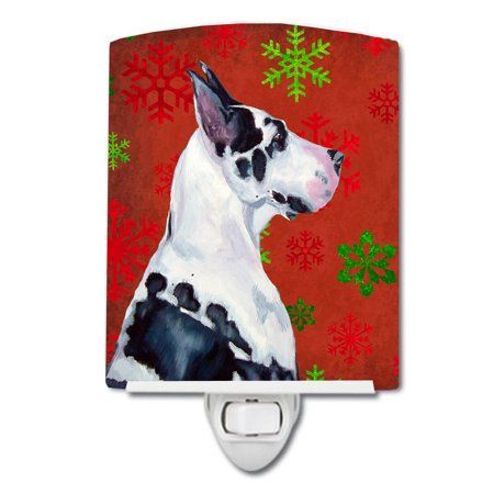 Great Dane Red Snowflakes Christmas Ceramic Night Light White