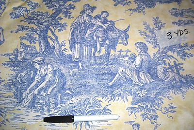 Waverly Country Life Blue Yellow Lake French Country Toile Fabric Bty French Country Design French Country Decorating Toile Fabric