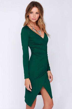 cd55148765d Chic Forest Green Dress - Long Sleeve Dress - Bodycon Dress - Midi Dress -   48.00