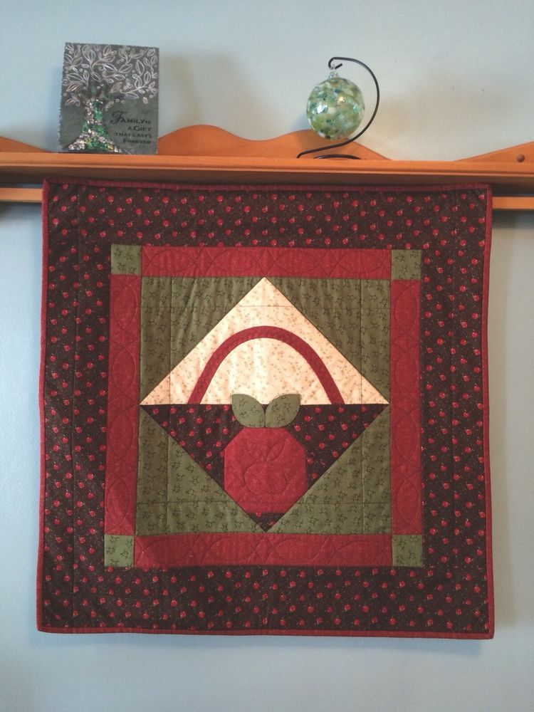 Apple Wall Hanging Machine Quilted 29 X 29 Wall Decor Machine