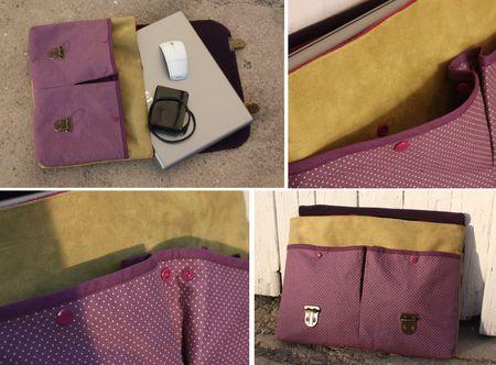 housse pour ordinateur portable avec poches de rangement sur le devant tutos couture. Black Bedroom Furniture Sets. Home Design Ideas