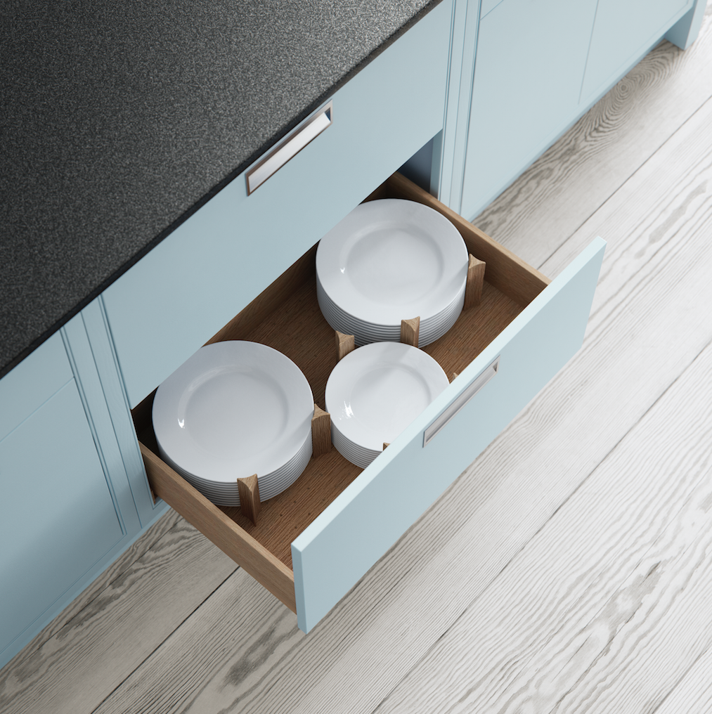 Hand Made Modern Classic Kitchens by Mereway - Pan drawer with oak ...