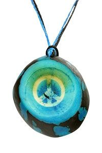 Peace Sign Thumbprint Tagua Necklace at The Animal Rescue Site
