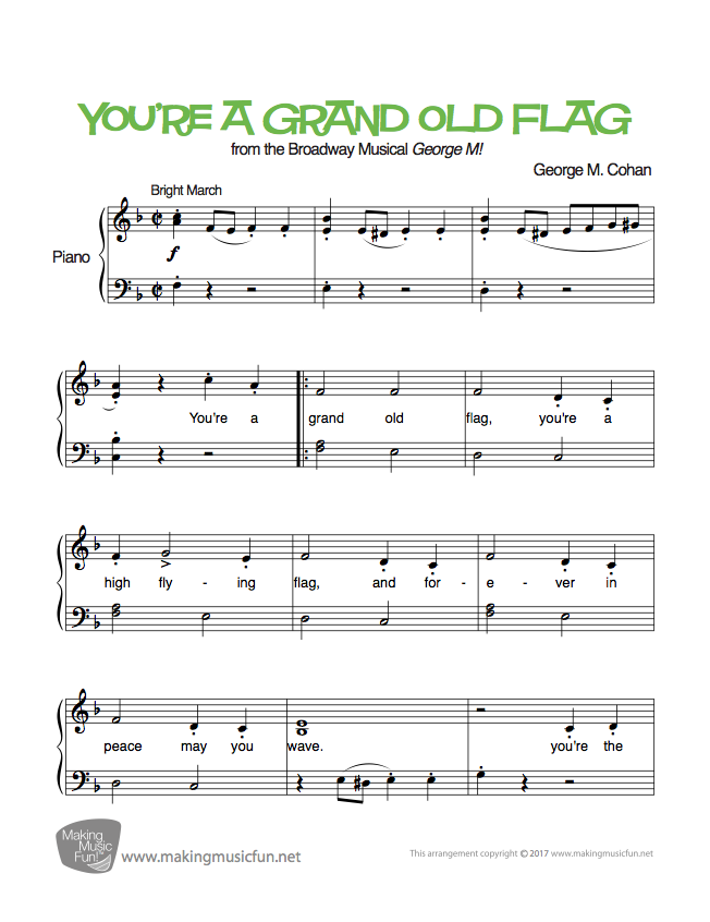 You Re A Grand Old Flag Cohan Easy Piano Sheet Music Digital Print Visit Makingmusicfun Net Sheet Music Music Theory Worksheets Easy Piano Sheet Music