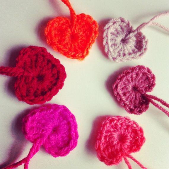 Red hanging crochet hearts