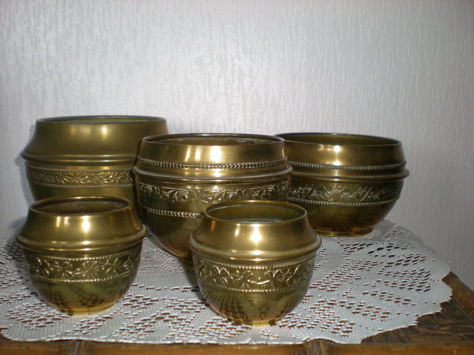 lot de 5 caches pots en laiton cuivre art nouveau 1920 for sale eur 51 99 see photos money. Black Bedroom Furniture Sets. Home Design Ideas