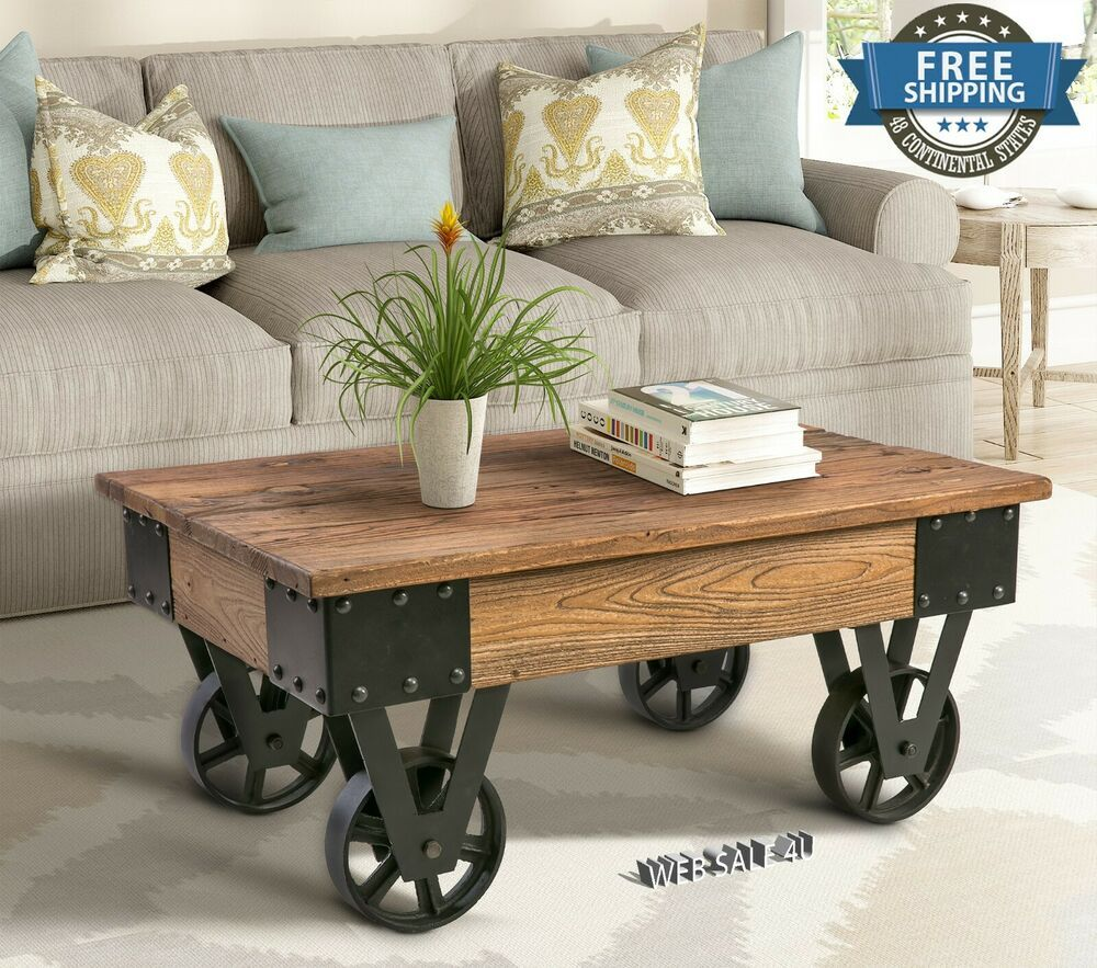 Industrial Solid Wood Coffee Table Rustic Metal Wheels Country Accent Shelf Us Ebay Farmhouse Coffee Table Decor Coffee Table Wood Coffee Table Rustic [ 883 x 1000 Pixel ]