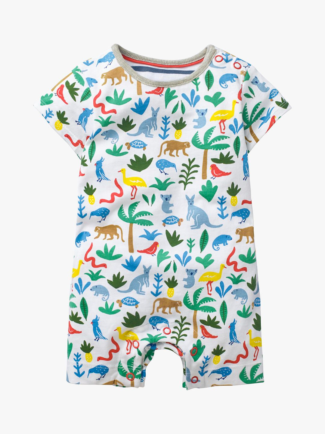 b0620303a4bc Mini Boden Baby Animal Jersey Romper, Multi at John Lewis & Partners