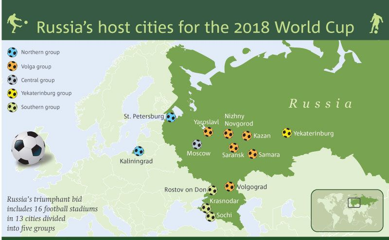 World Cup 2018 Host Cities Map