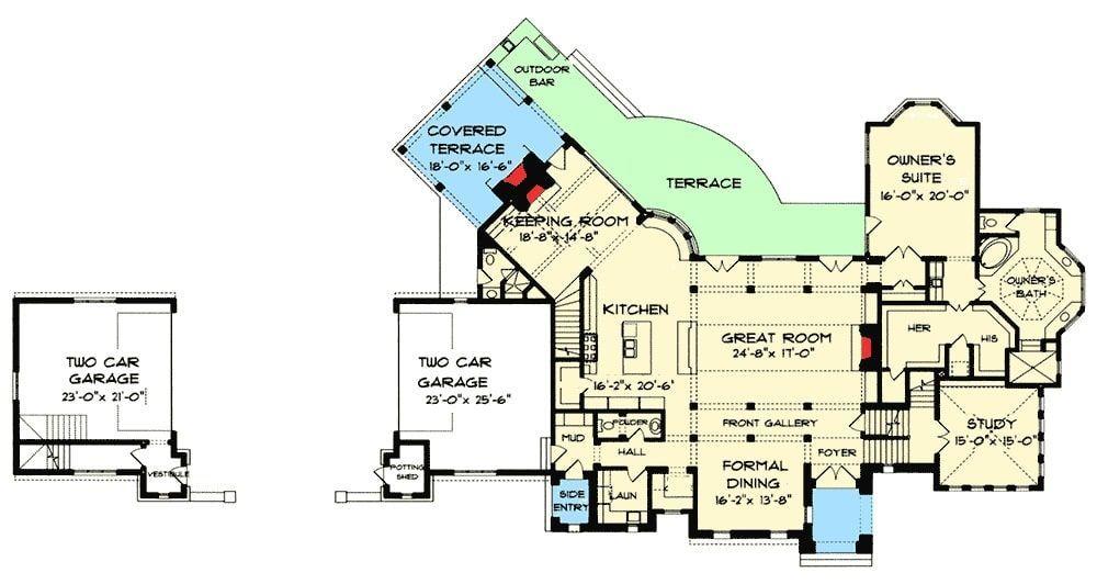 Two Story 5 Bedroom Luxury Tudor Home With First Floor Primary Suite Floor Plan Floor Plans Tudor House Master Suite Floor Plan