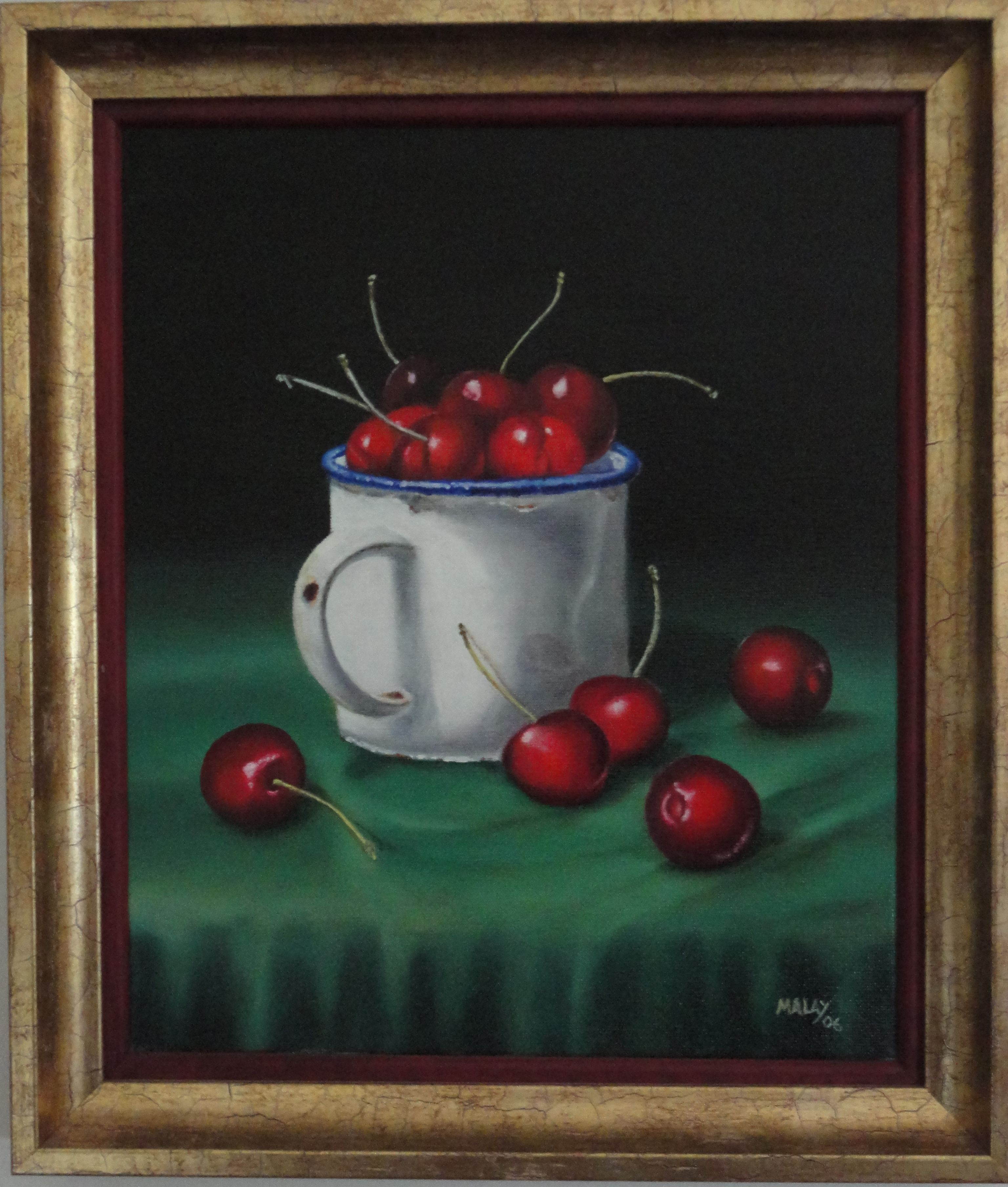 """""""CEREJAS NUM PÚCARO"""" - 2006 - Pintura a óleo sobre tela (*)"""