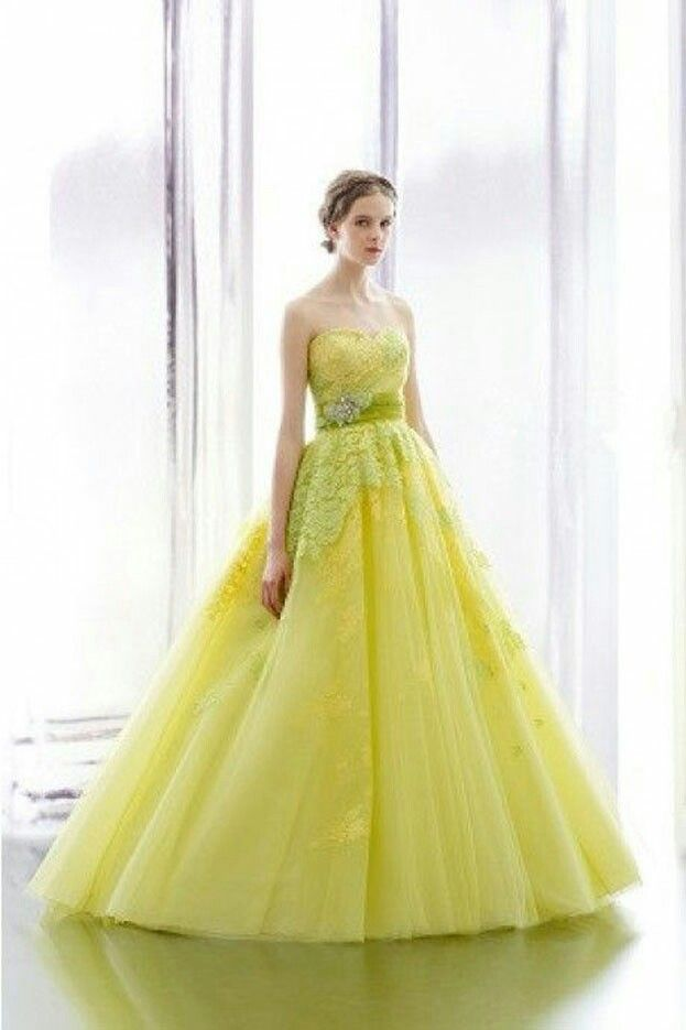 6455736d1a966 Chartreuse strapless with beaded tulle - Glorious color gown ...