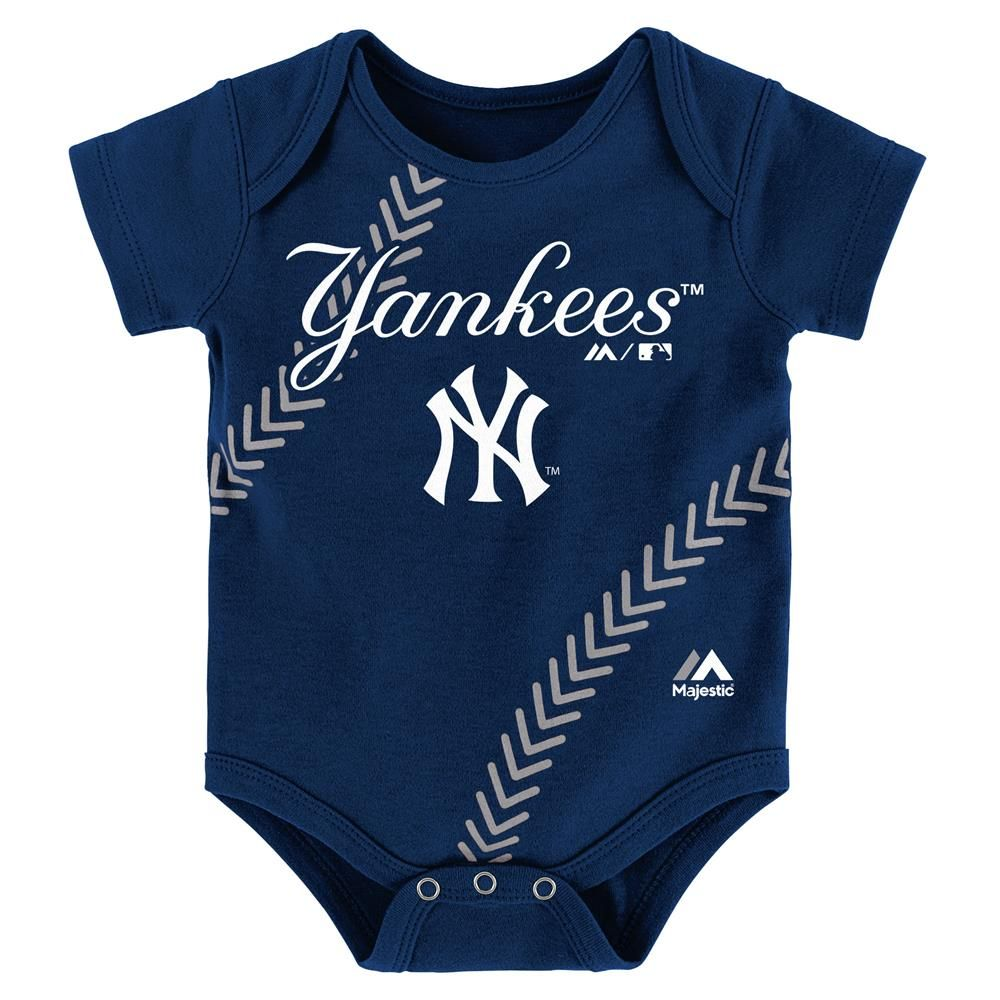 0fb36354 This Yankees Onesie is loaded with spirit! It features official  screen-printed logos and team colors. It's got a fold over neck and three  snap closures at ...