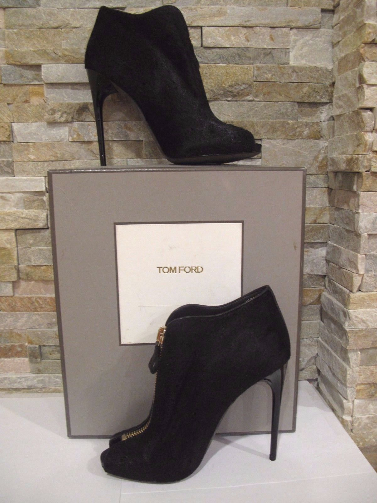 9d84cf07288 NIB! TOM FORD PONY HAIRCALF ZIP FRONT PEEP TOE BOOTIE SZ 41, US 10.5 ...