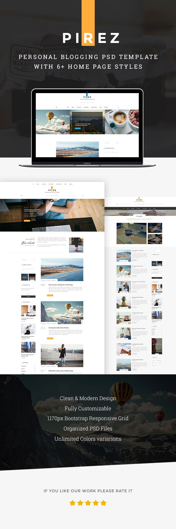 PIREZ - Blogging PSD | Blogging, Psd templates and Template