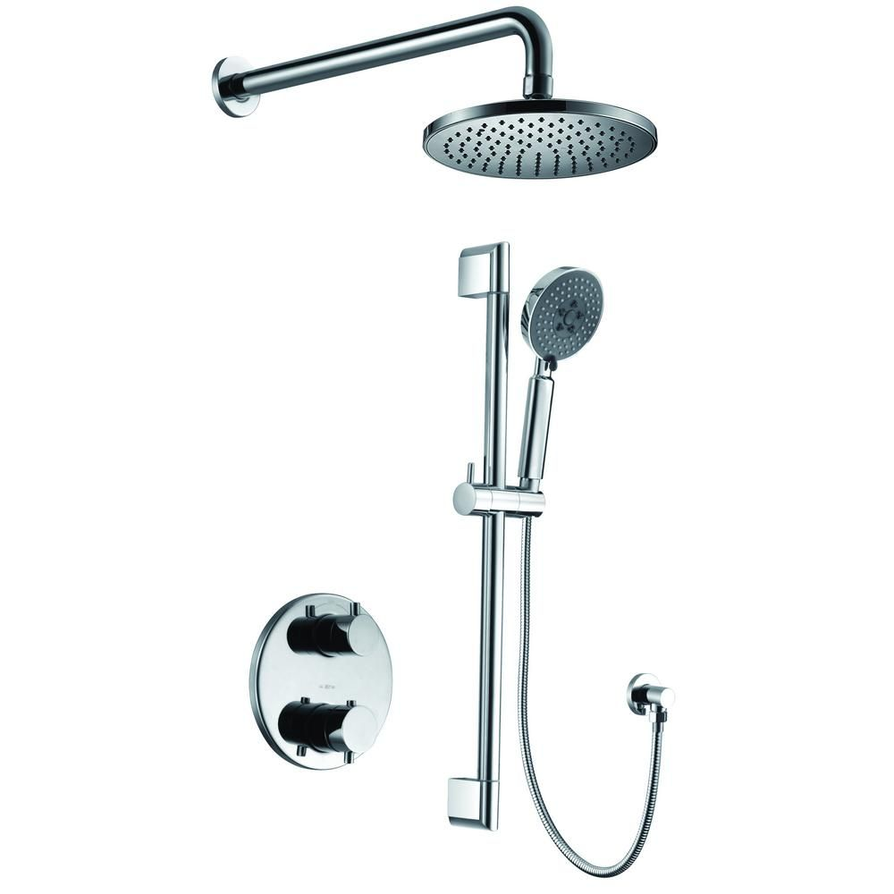 Alfi Brand 1 Spray Dual Showerhead And Handheld Showerhead With Temperature Control In Polished Chrome Polished Chrome Shower Systems Shower Heads