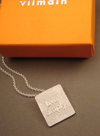 """Vilmain - Sterling Silver """"""""Live Simply"""""""" Necklace"""