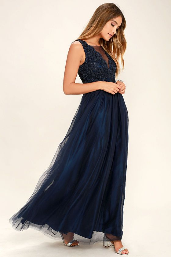 ddf42228ab Your evening will definitely be a fanciful one in the Could Have Danced All  Night Navy Blue Maxi Dress! Darted organza bodice is artfully embroidered  in ...