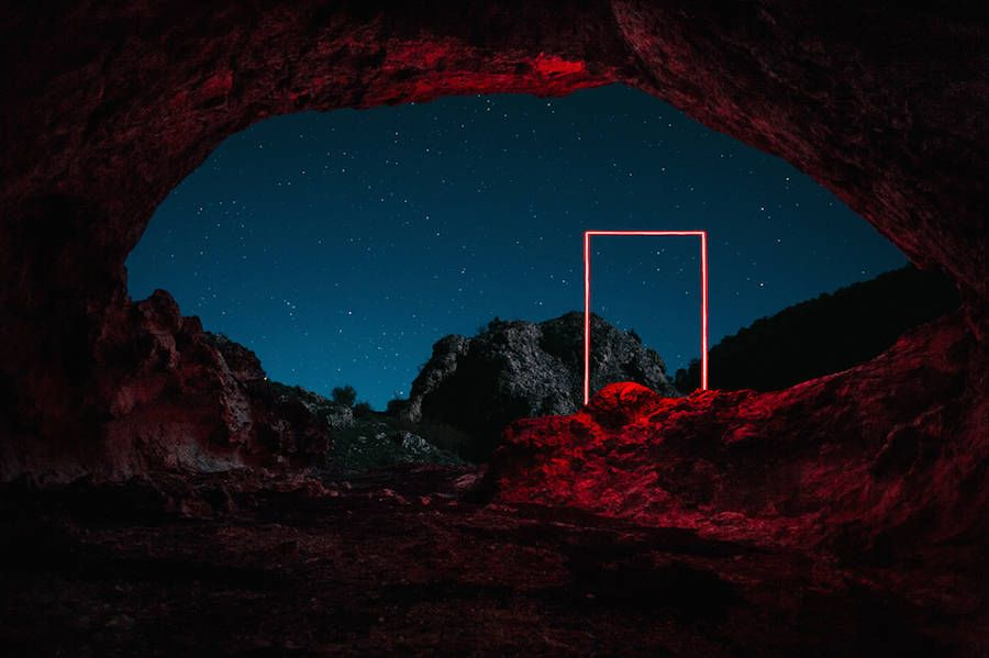 Mysterious Red Lights Installations in Spain | Fubiz Media | As part of his visual project titled La Línea Roja, the Parisian photographer Nicolas Rivals wandered Spain to install red geometric shapes. The diverse destinations of the artist therefore acquire a mysterious atmosphere in which lights draw a line between humans and nature.