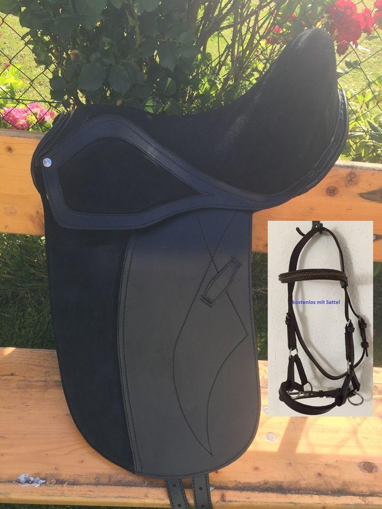 Neue Pferd Dressur baumlose Sattel balck Größe 17   mit Klett-Pad