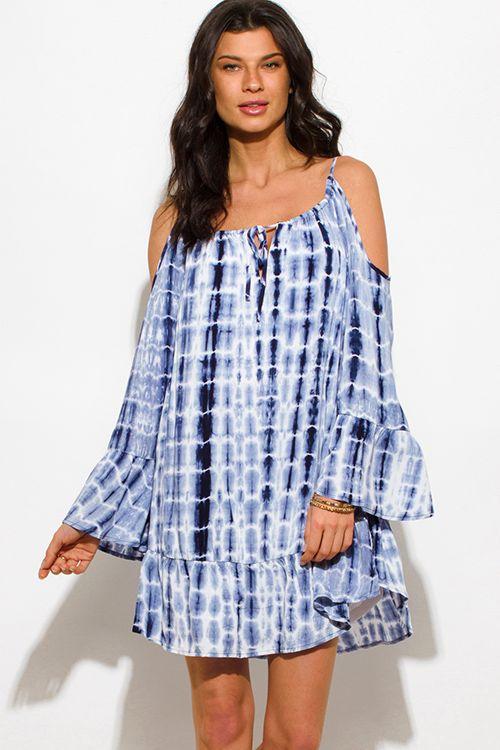 230e04c121a8a Cute cheap navy blue tie dye cold shoulder long bell sleeve boho mini sun  dress