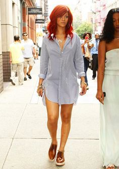 Rihanna in a shirtdress and oxfords