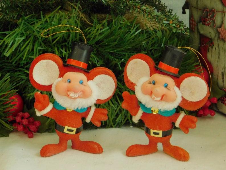 Vintage Flocked Christmas Mouse Ornament