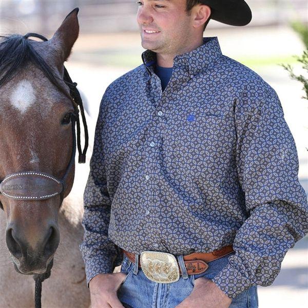Cinch Gray Plain Weave Print Shirt MTW1103725