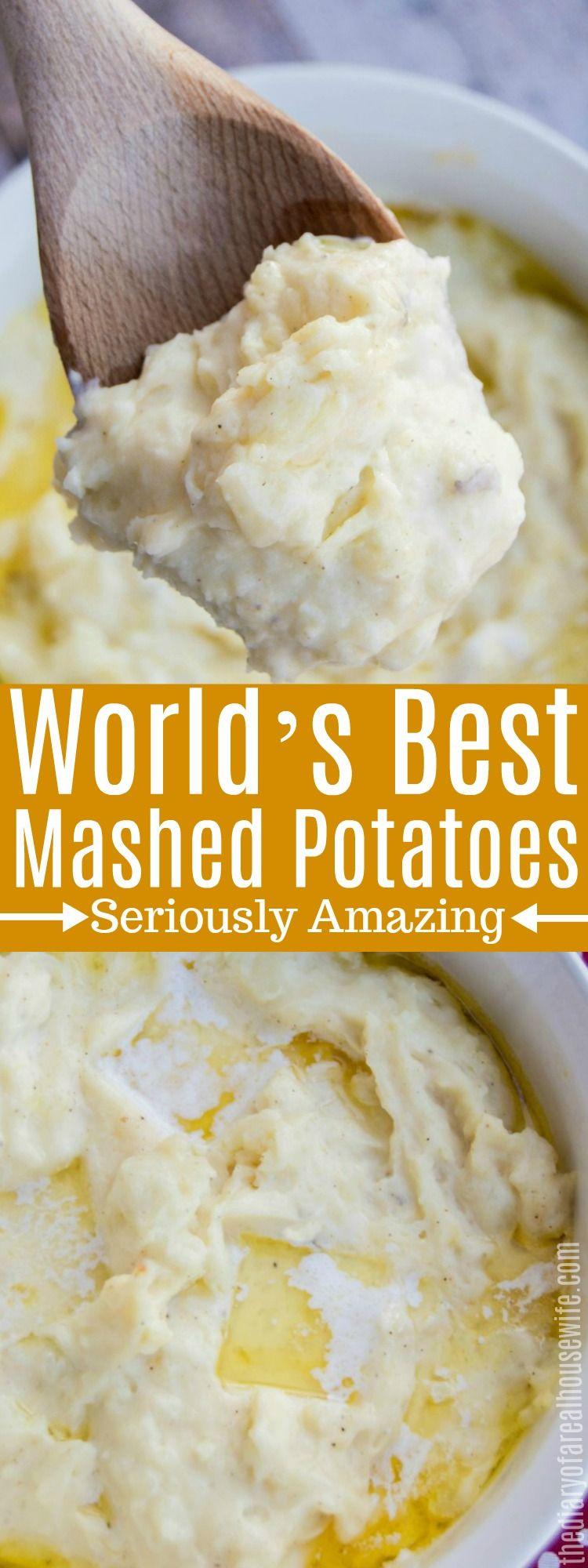 The World's Best Mashed Potatoes, the best thanksgiving side dish recipe. #thanksgiving #sidedish #russetpotatorecipes