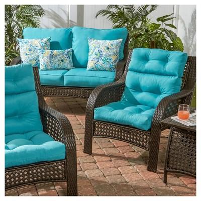 Solid Outdoor High Back Chair Cushion Teal Kensington Garden Lounge Chair Cushions Deep Seat Cushions Outdoor Lounge Chair Cushions
