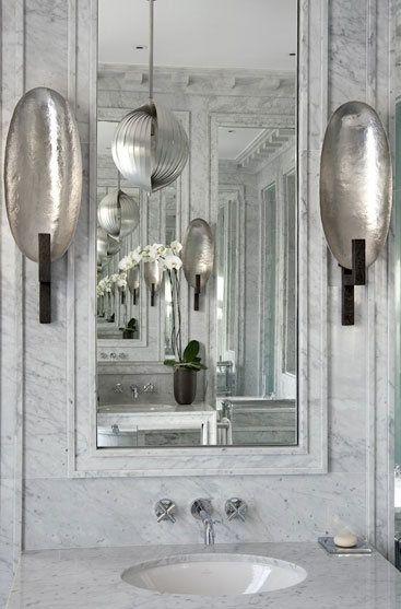 Herve Van Der Straeten Sconces Jean Louis Deniot Marble Bath