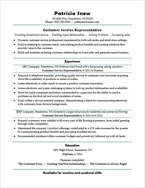 this sample resume for an entrylevel customer service