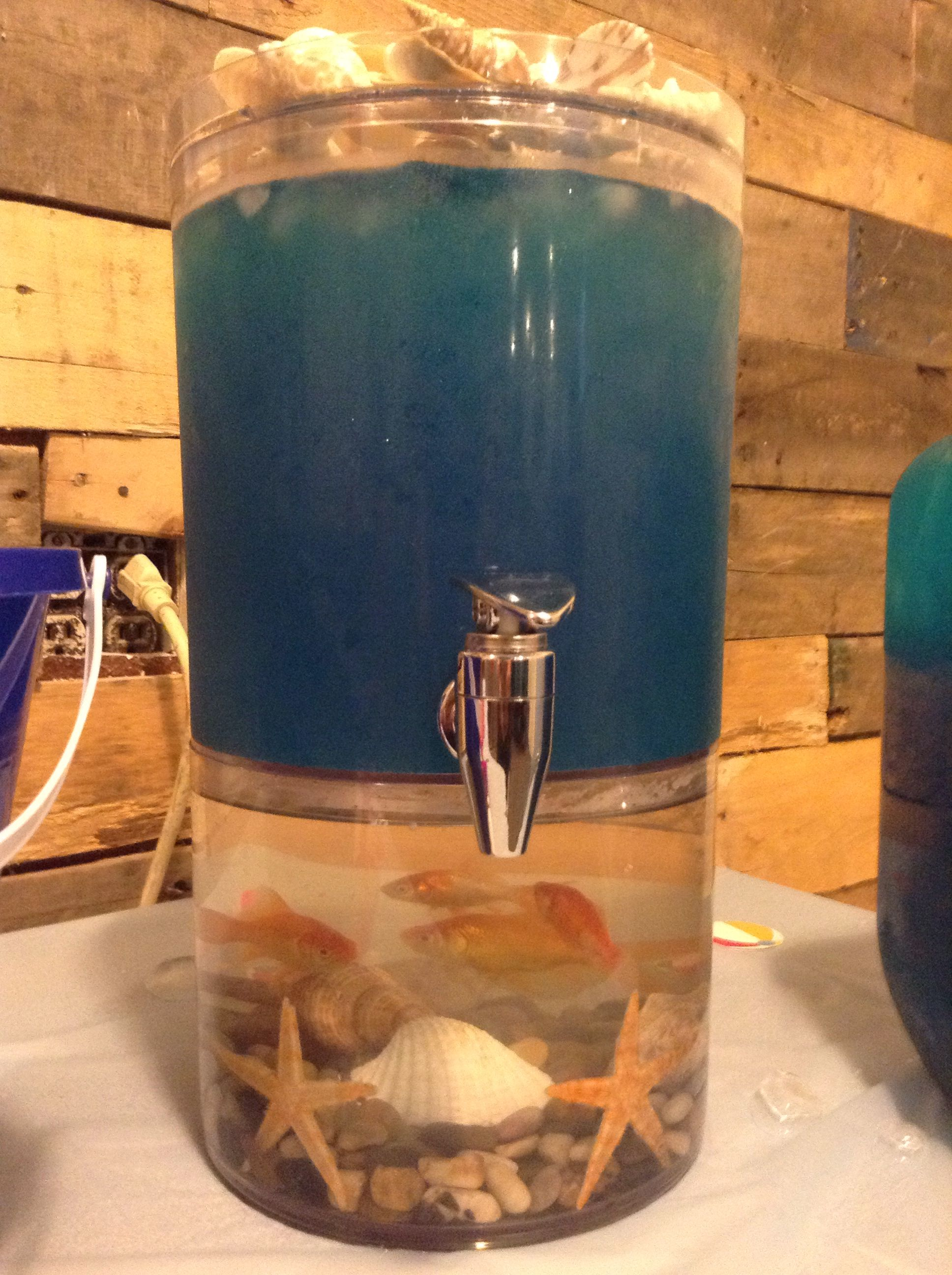 Beach wedding , bridal shower , blue punch , real goldfish in the ...