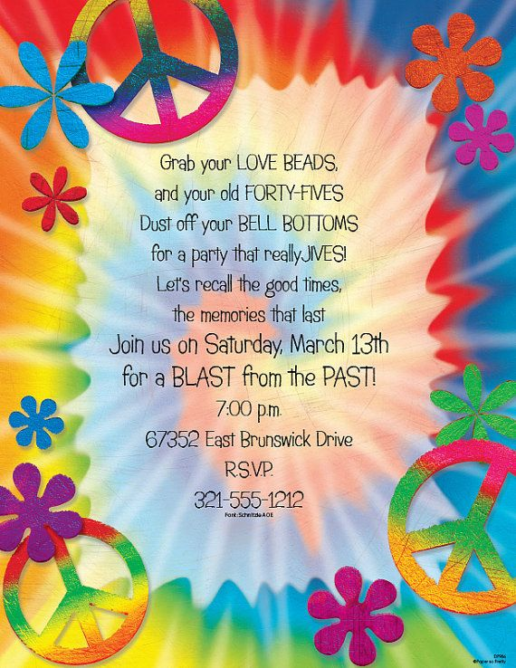 tie dye peace signs invitation 60 s party 70 s party invite