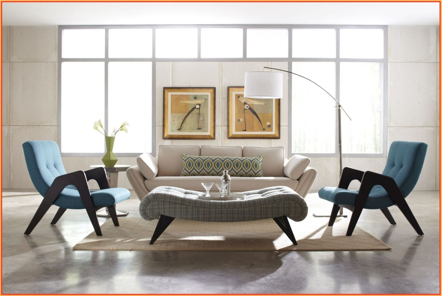 Mid Century Living Room Ideas Blue And White