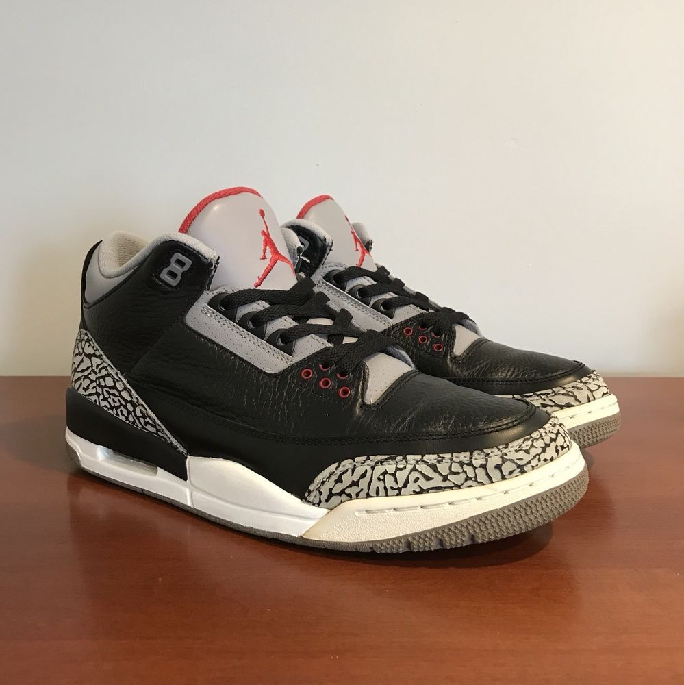 9b88e2860cd132 Nike Air Jordan 3 Rare Retro III Black Cement 2011 US Mens Size 10.5 Pre-