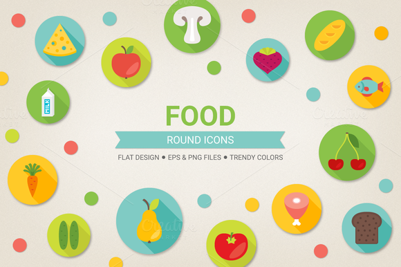 Check out Round food icons by miumiu on Creative Market