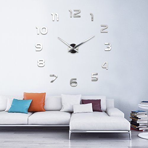 ifttt/1kcJnyR XXL3D Riesige Spiegel Wanduhr Vinyl DIY Ø - wanduhren wohnzimmer modern