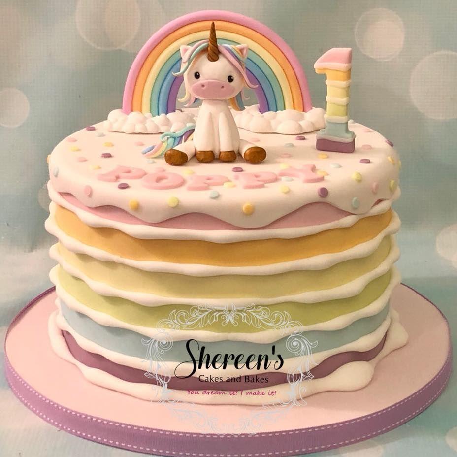 Unicorn Rainbow Pastel 1st Birthday Cake Birthday cake